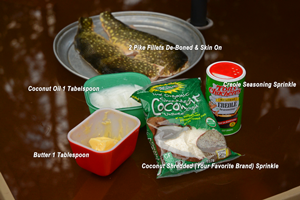 image shows ingredients needed to preapre coconut pike delight
