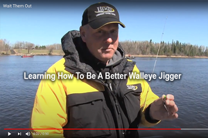 image links to video about jig fishing for walleyes