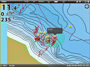 image of trolling pattern over transitional crappie area