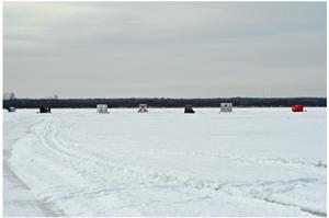 image of ice fishing shelters