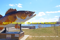 image of walleye statue overlooking lake mille lacs.
