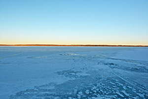 image of ice cover on Splithand Lake