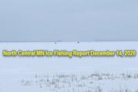 image of ice fishing shelters on Bowstring Lake