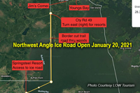 image links to announcement about opening of the northwest angle ice road
