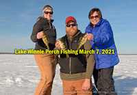 image of Susan Sundin with Annalee and Austin Jones perch fishing on Lake Winnie
