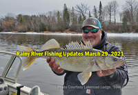 image links to Rainy River fishing reports from Lakeroad Lodge and Border View Lodge
