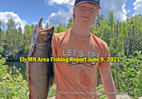 image of angler holding nice trout caught near Ely MN