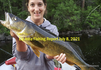 image of girl with nice walleye caught in the Ely MN area