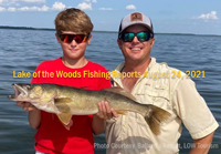 image of young angler with nice walleye caught on lake of the woods while at Ballard's Resort