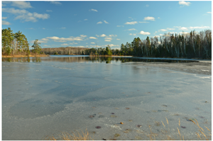 image of lake with partial ice cover