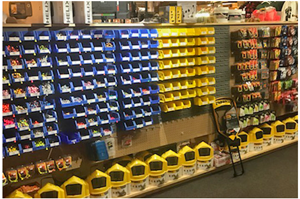 image of tackle shelves at bait shop